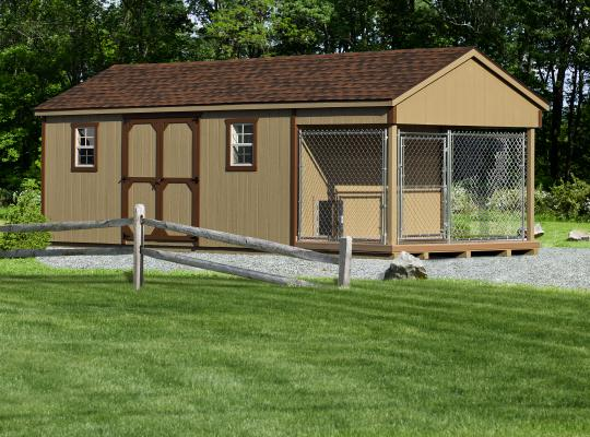 10x24 residential kennel in tan and brown