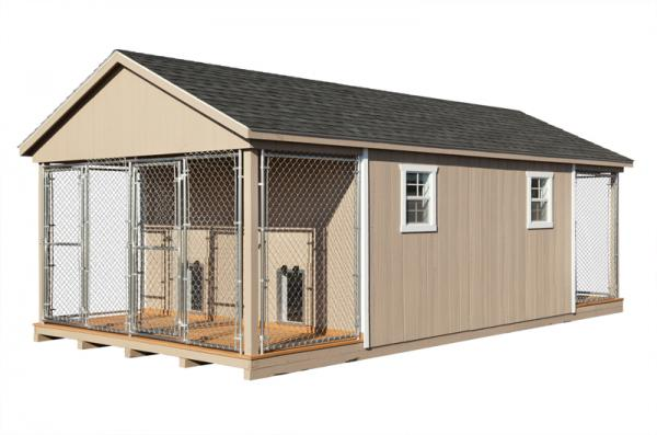 12x24 commercial kennel in beige