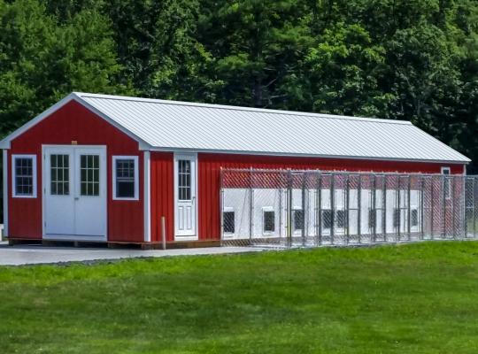 12x50 commercial kennel in red