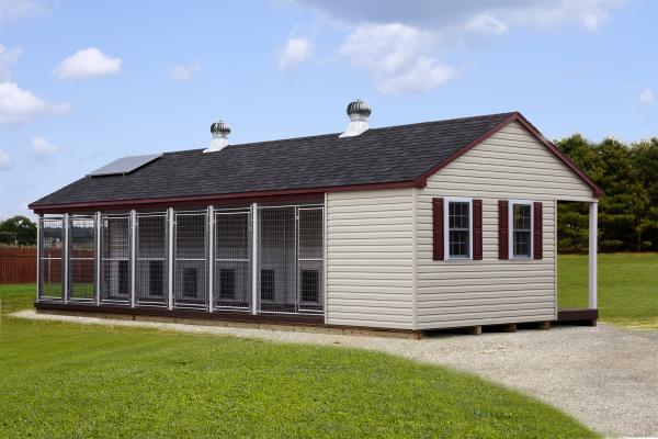 15x36 commercial kennel in gray
