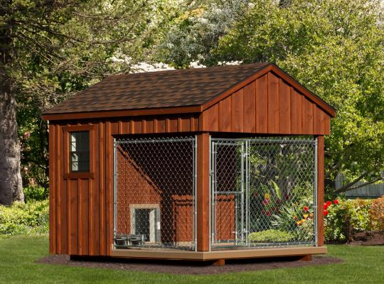 8x10 residential kennel in dark wood
