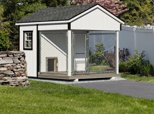 8x10 residential kennel in white