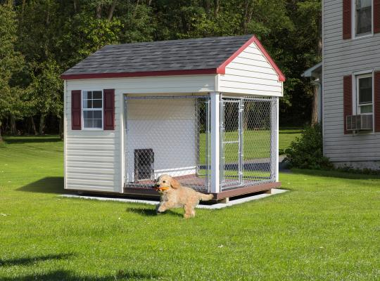 8x10 residential kennel in white and gray