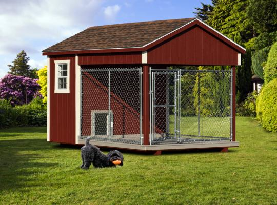 8x12 residential kennel in cherry wood
