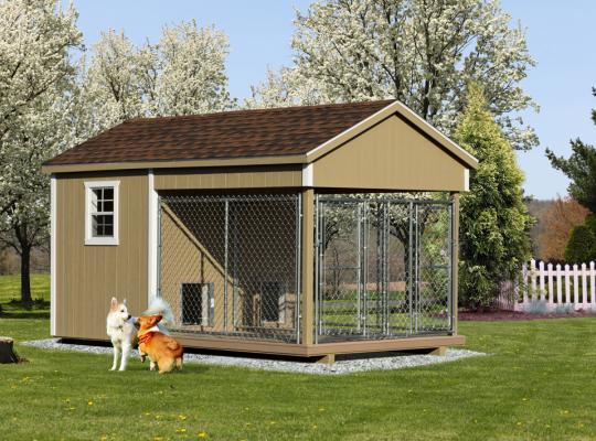 8x14 residential kennel in tan and brown