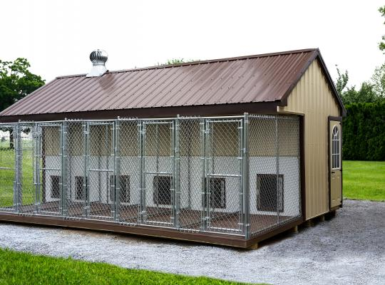 8x22 commercial kennel in tan and brown