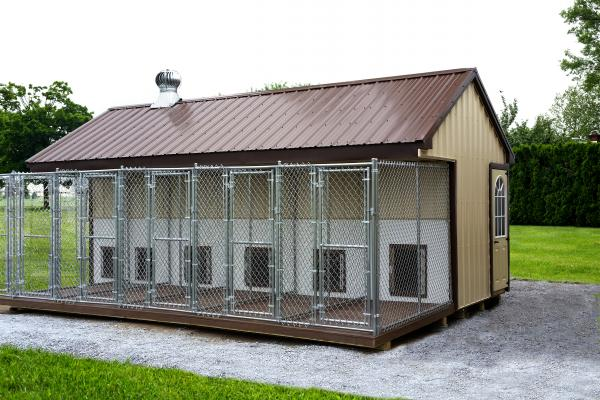 8x22 commercial kennel in beige and brown
