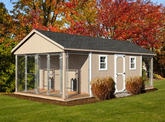 12x24 commercial kennel in tan