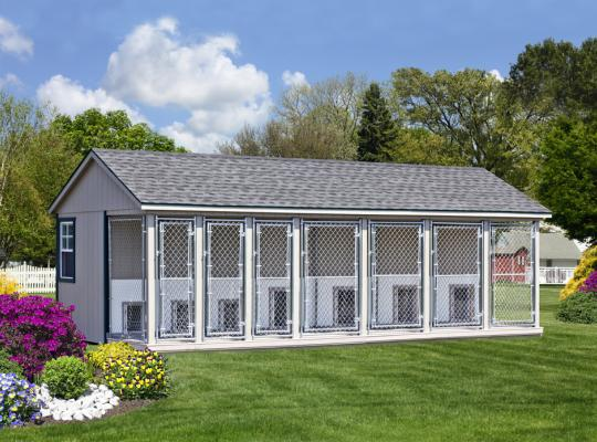 12x26 commercial kennel in gray