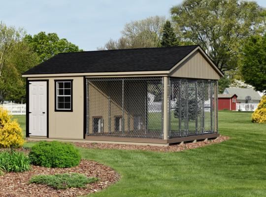small commercial kennel in tan