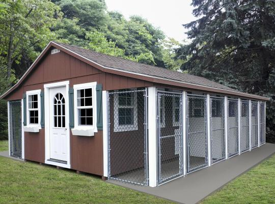 20x28 elite commercial kennel in brown