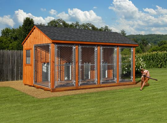10x16 commercial kennel in wood and slate