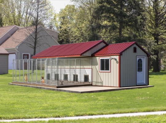 10x28 commercial kennel in beige and red