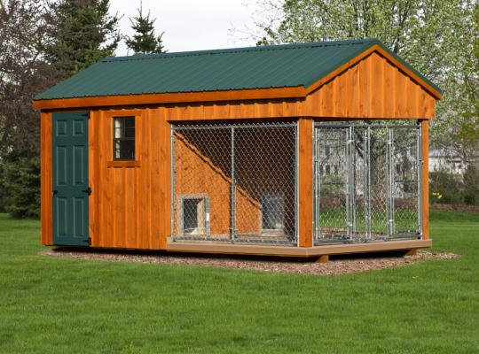 8x16 commercial kennel in wood and green