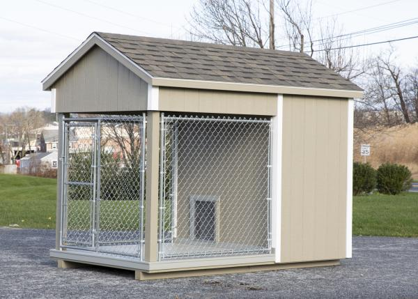 small residential kennel in beige