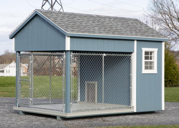 small residential kennel in blue