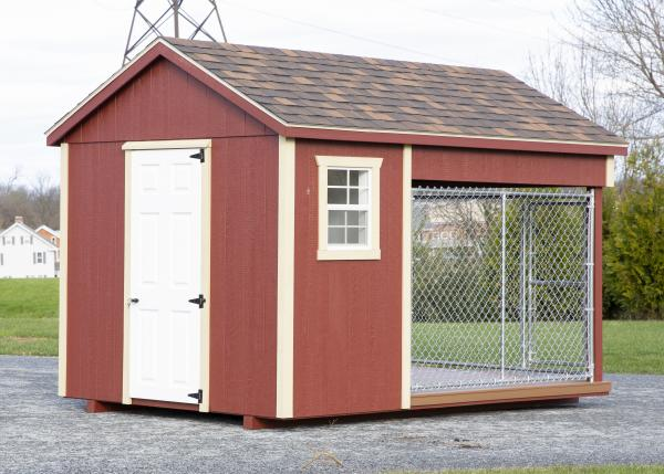 small residential kennel in red