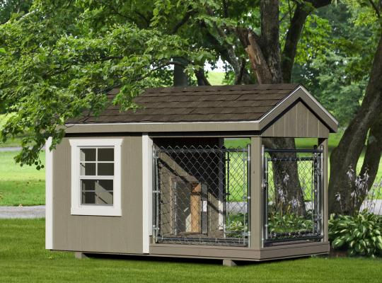 4x8 residential kennel in gray