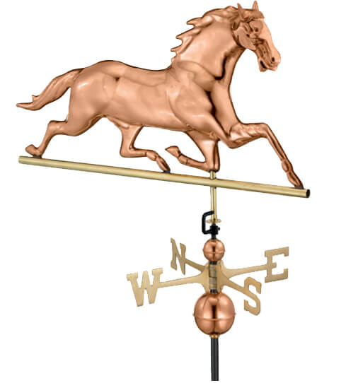 Copper horse weathervane.