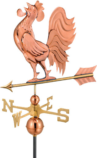 Copper rooster weathervane.