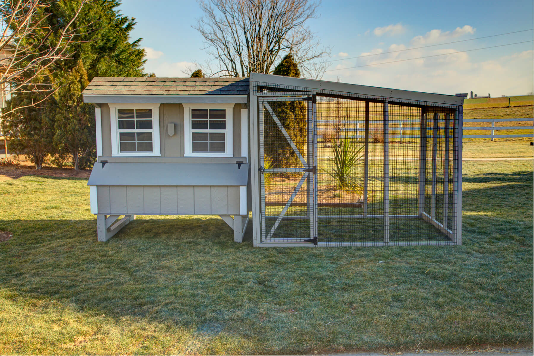 6'x8'x6' chicken run with roof.