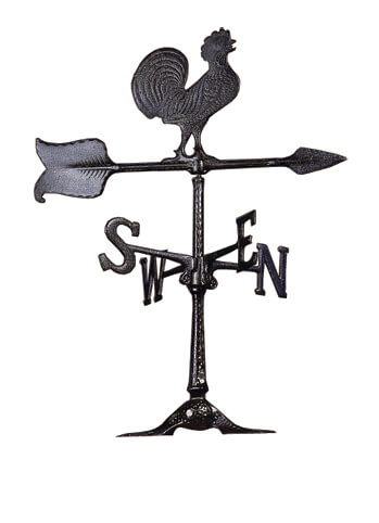 Small black rooster weathervane.